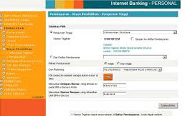 Cara Bayar UKT Unsri Via Internet Banking