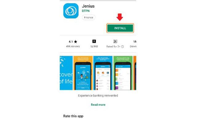 1. Langkah yang pertama silahkan download aplikasi Jenius di smartphone anda melalui Google Play atau Appstore.