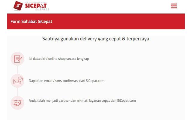 Langkah yang pertama silahkan kunjungi situs httpswww.sicepat.comhomejoinForm.