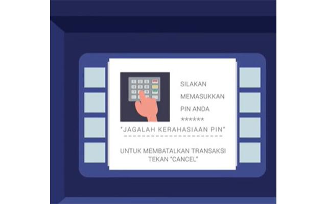 Masukan kartu ATM dan masukkan PIN ATM anda.