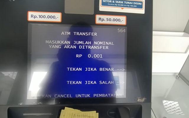 Masukkan nominal uang yang akan ditransfer. 1