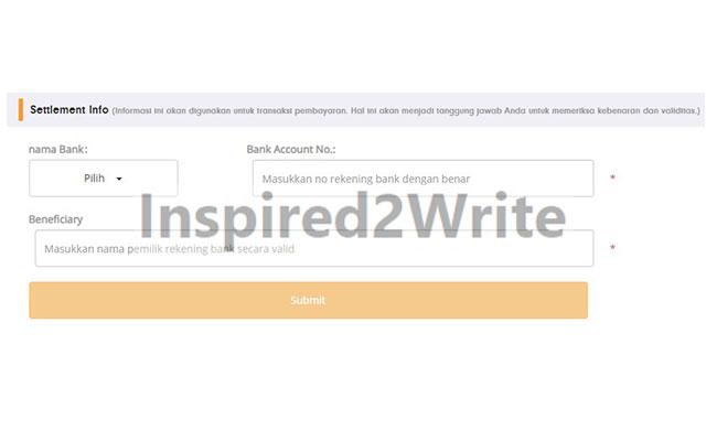 Selanjutnya isi info settlement. Jika semuanya sudah terisi silahkan klik Submit.