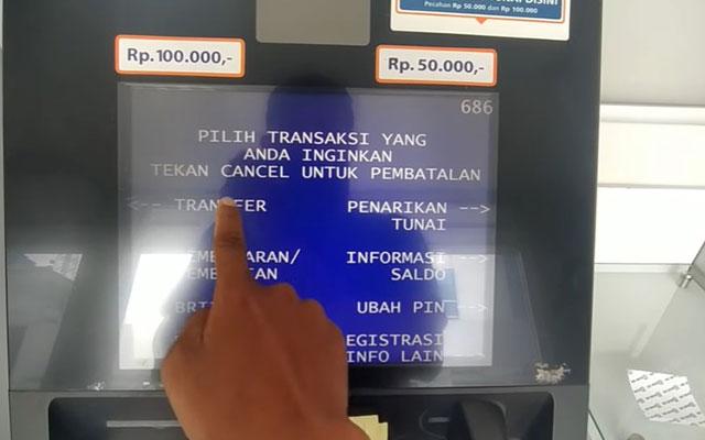 Selanjutnya pilih menu Transfer.