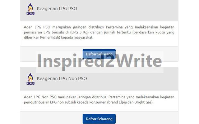 Selanjutnya silahkan pilih keagenan LPG PSO atau NON PSO. Lalu klik daftar sekarang.