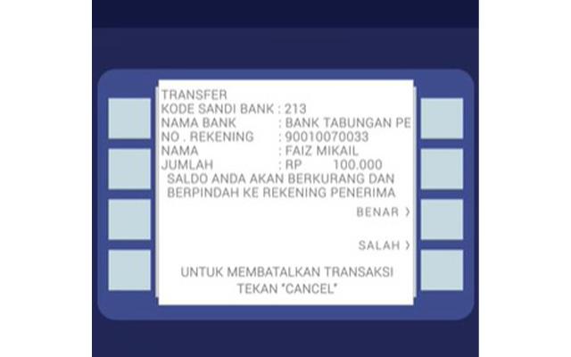 Silahkan konfirmasi transaksi anda dengan menekan benar.