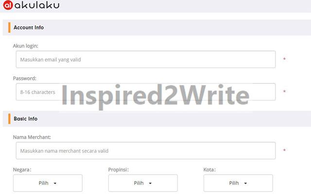 silahkan masukkan akun untuk email dan password untuk login. Setelah itu masukkan basic info