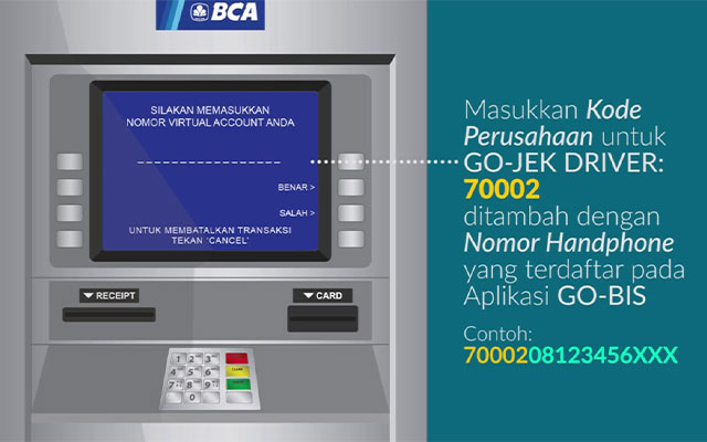 Cara Top Up Saldo Gojek Driver via Bank BCA