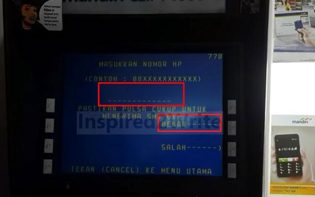 Masukkan nomor HP yang akan digunakan untuk mendaftar SMS Banking. Jika sudah klik Benar