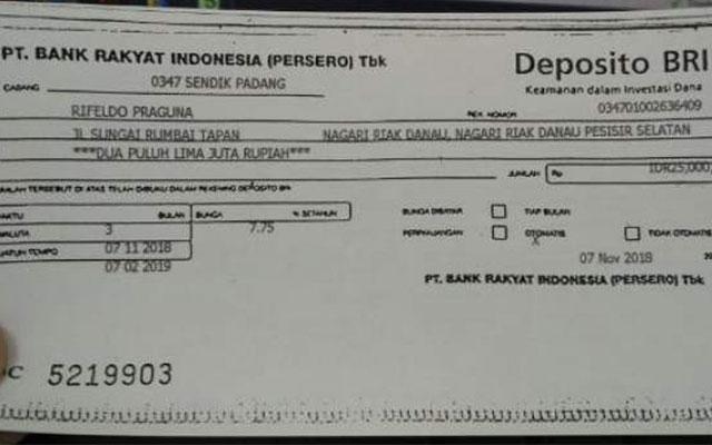 Biaya Deposito BRI Terbaru