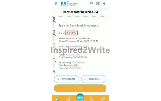 Transfer Sesama BSI Berhasil