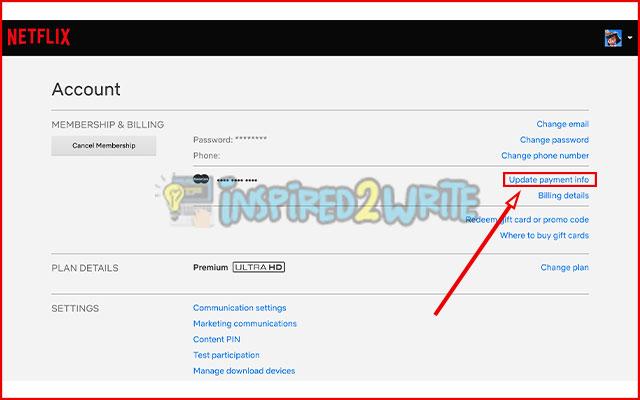 2. Pilih Update Payment Info