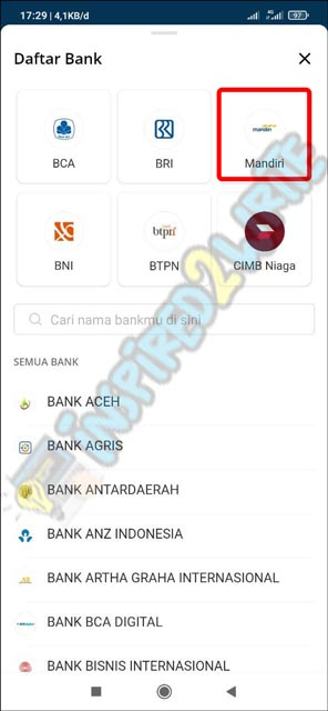 10. Pilih Bank Mandiri