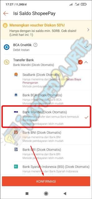 4. Pilih Tujuan Transfer Bank