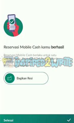 8. Reservasi Mobile Cash Berhasil